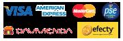 Medios de Pago: Tarjetas Visa American express Mastercard PSE débito EFECTY Davivienda consignacion nacional